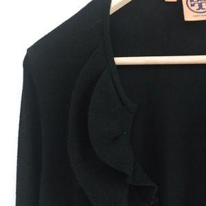 Tory Burch Ruffle front Wool Cardigan - size xs
